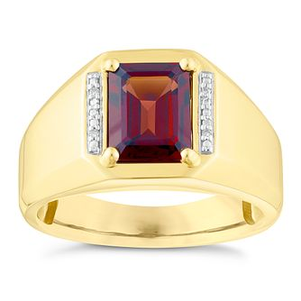 9ct Yellow Gold Garnet & Diamond Signet Ring - Product number 3921875