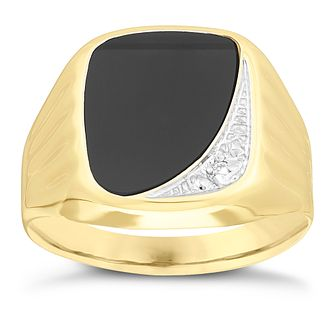 9ct Yellow Gold Men's Onyx Diamond Signet Ring - Product number 3923061
