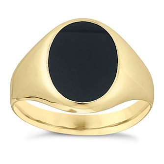 9ct Yellow Gold Men's Onyx Signet Ring - Product number 3923614