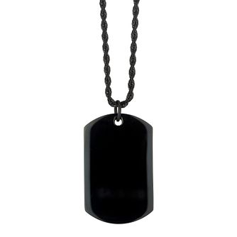 Stainless Steel Black Rope Chain & Black Plated Dog Tag - Product number 3930610