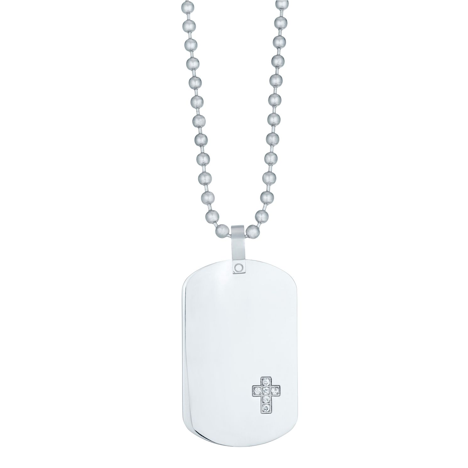 Stainless Steel Cubic Zirconia Set Cross Dog Tag - Product number 3930629