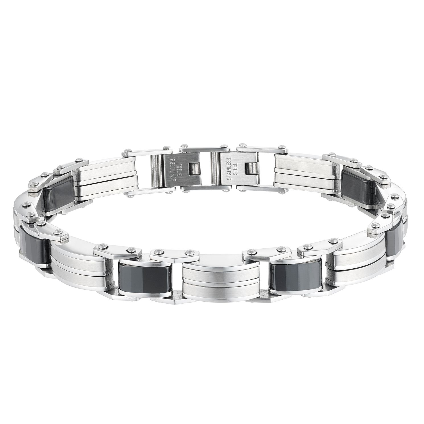 Stainless Steel & Ceramic 8.25 inches Men's Bracelet - Product number 3930637