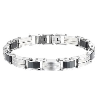 "Stainless Steel & Ceramic 8.25"" Men's Bracelet - Product number 3930637"