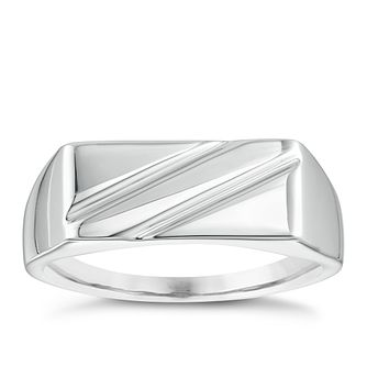 925 Rhodium Plated Ridge Design Men's Ring - Product number 3930998