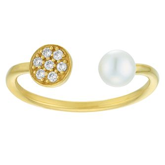 Freshwater Pearl & Cubic Zirconia Gold Plated Open Ring - Product number 3935442