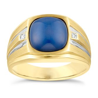 9ct Yellow Gold Men's Created Bluestar Sapphire Ring - Product number 3937178