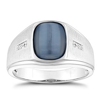 Sterling Silver Men's Grey Cats Eye & Diamond Ring - Product number 3937542