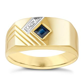 9ct Yellow Gold Men's Diamond & Sapphire Ring - Product number 3937690