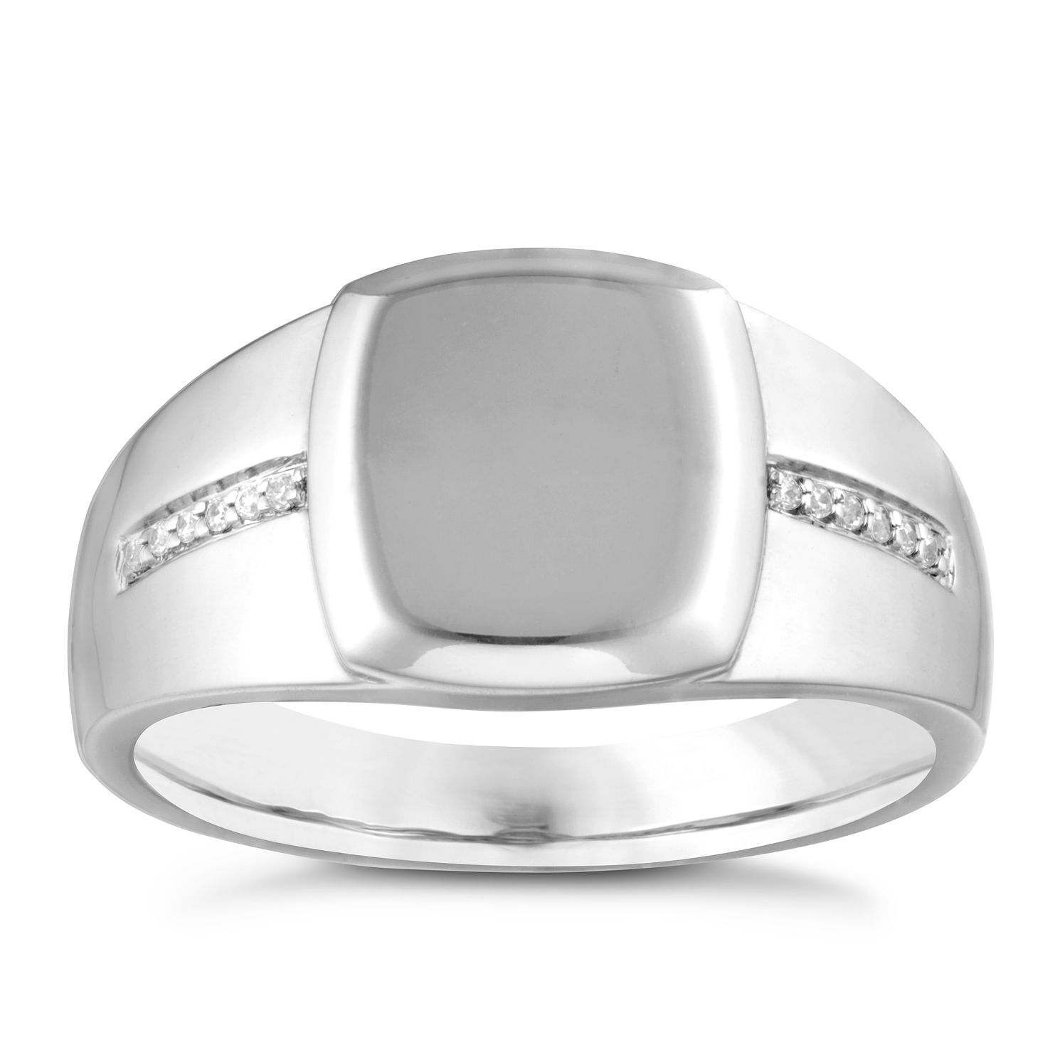 Sterling Silver Men's Diamond And Plain Cushion Ring - Product number 3938840