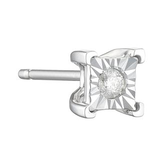 9ct White Gold Men's Square Diamond Stud Earring - Product number 3939065