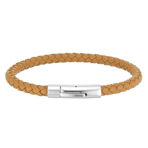 Men's Tan Leather Stainless Steel Bracelet - Product number 3939294