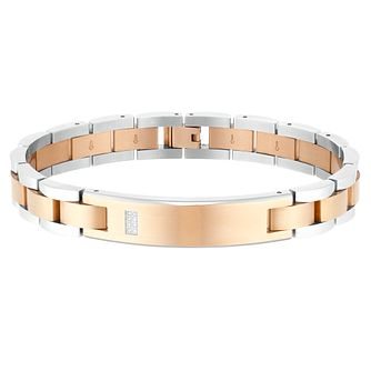 Men's Stainless Steel and Rose Gold Colour Diamond Bracelet - Product number 3939316