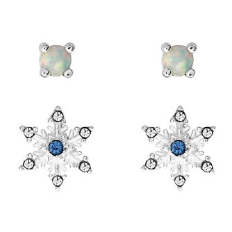 Disney Frozen Children's Snowflake & Opal Stud Earrings Set - Product number 3940993