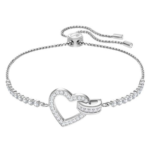 Swarovski Ladies' Rhodium Plated Lovely Heart Bracelet - Product number 3941302