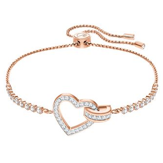 Swarovski Ladies' Rose Gold Plated Lovely Heart Bracelet - Product number 3941310