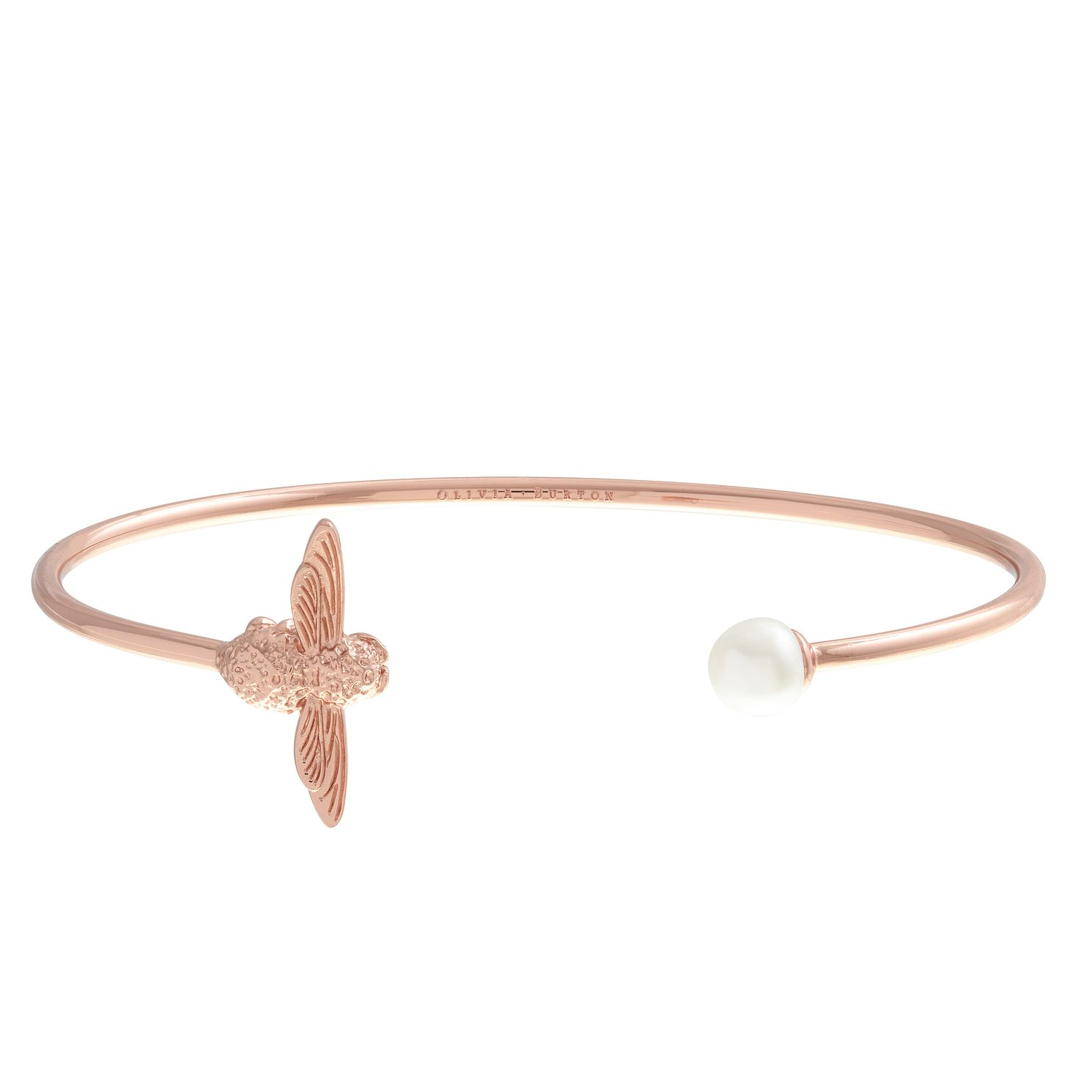 Olivia Burton Rose Gold Metal Plated Pearl Bee Bangle - Product number 3945685