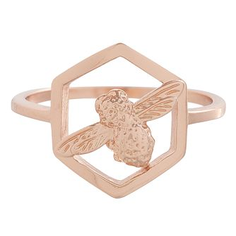 Olivia Burton Honeycomb Bee Rose Gold Metal Plated Ring - Product number 3945715