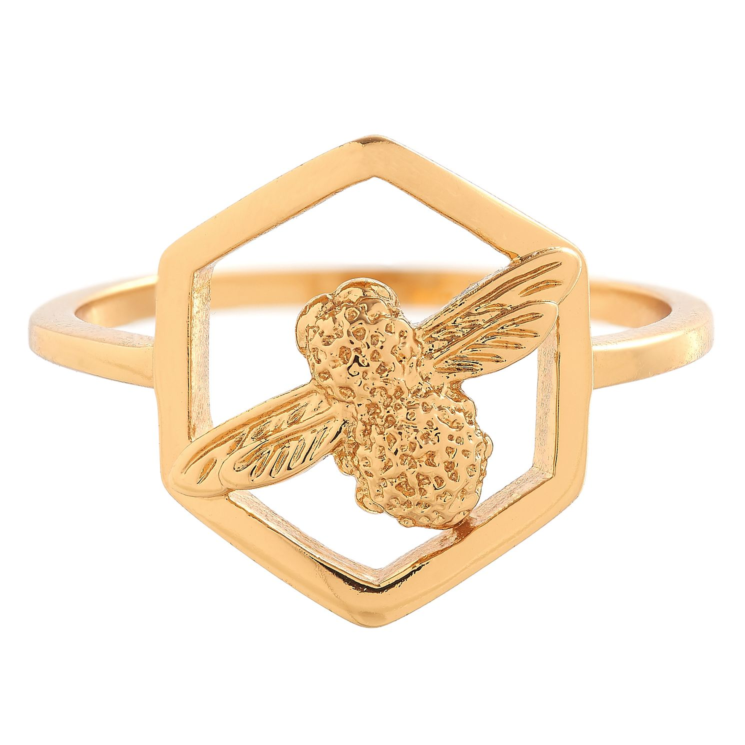 Olivia Burton Honeycomb Bee Yellow Gold Metal Plated Ring - Product number 3945723