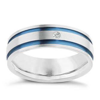 Men's Titanium Diamond Ring - Product number 3948625