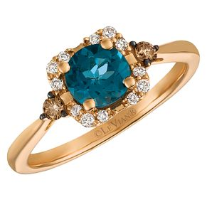 14ct Strawberry Gold Deep Sea Blue Topaz And Diamond Ring - Product number 3948951