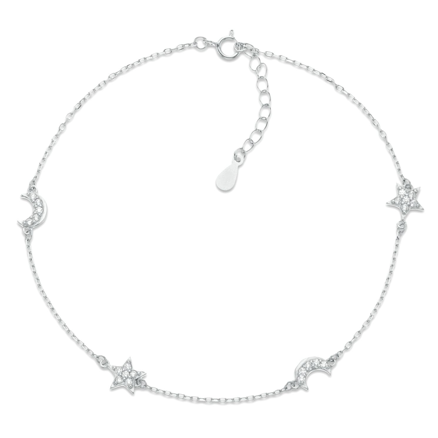 Sterling Silver Crystal Star & Moon Anklet - Product number 3952657