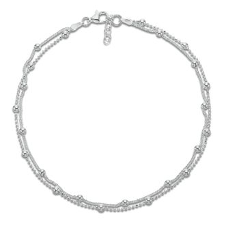 Sterling Silver Double Strand Chain & Ball Anklet - Product number 3952673