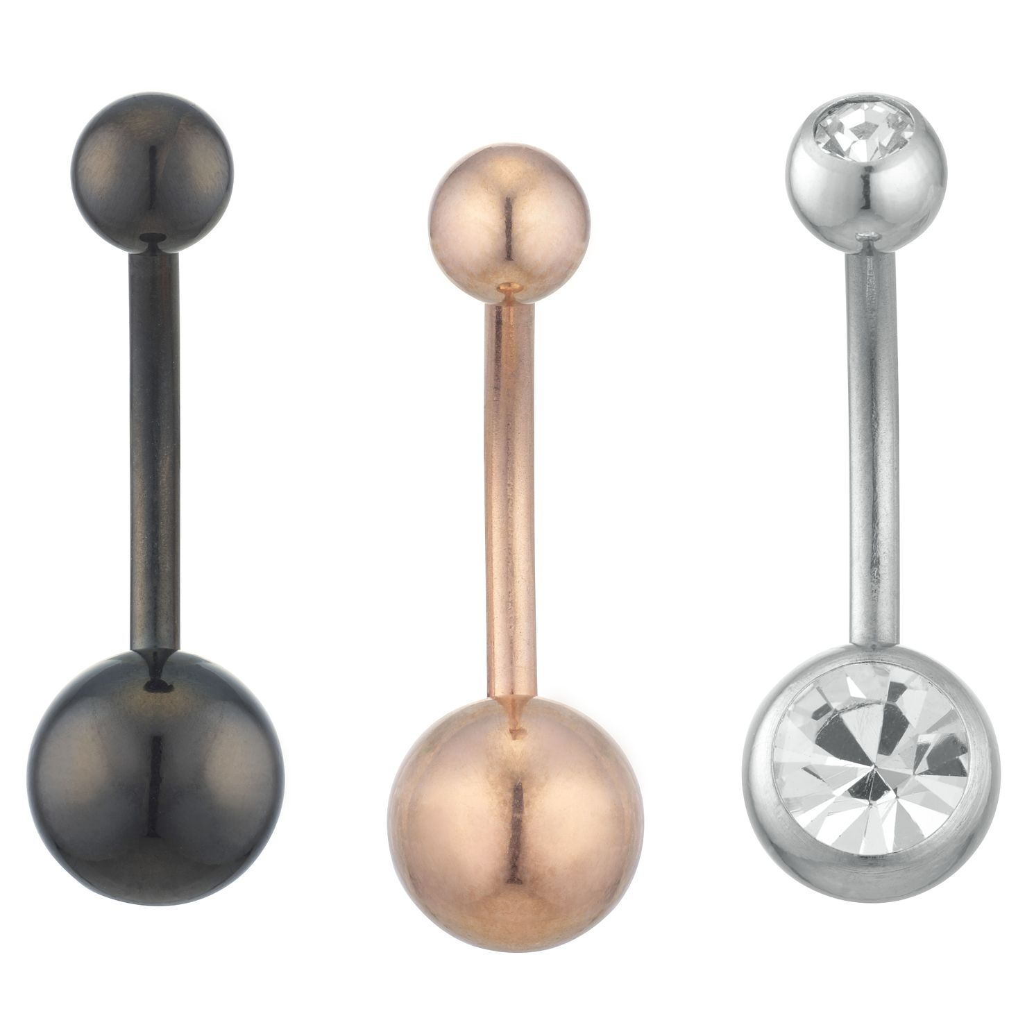 Stainless Steel Set of 3 Belly Bars - Product number 3952835