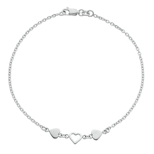 Sterling Silver Three Hearts Anklet - Product number 3952886