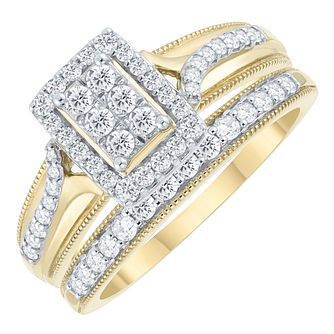 Perfect Fit 9ct Yellow Gold 1/2ct Round Diamond Bridal Set - Product number 3956652