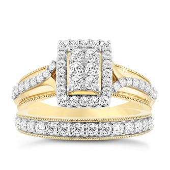 Perfect Fit 9ct Yellow Gold 4/5ct Round Diamond Bridal Set - Product number 3956946