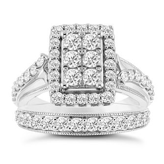 9ct White Gold 1 1/2ct Diamond Perfect Fit Bridal Set - Product number 3957101