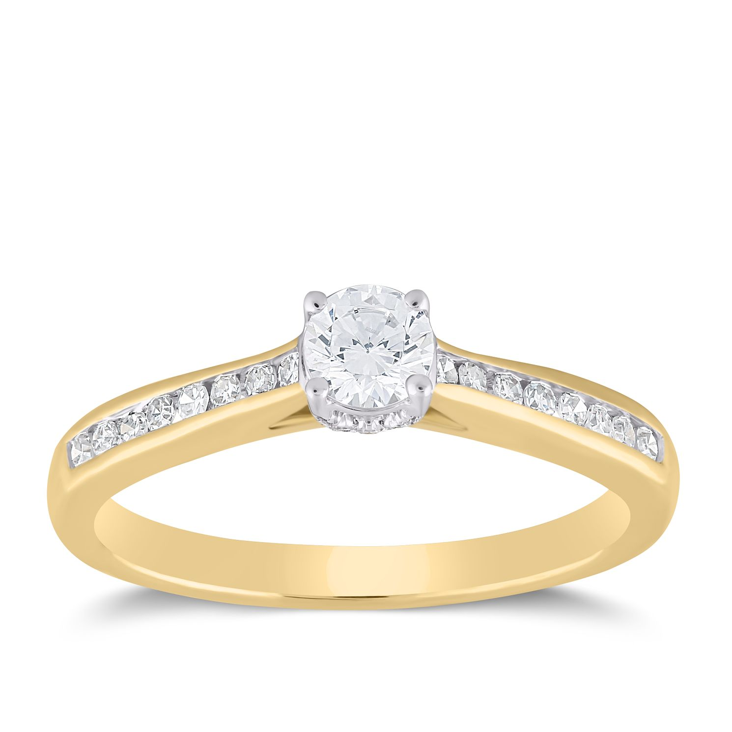 The Forever Diamond 18ct Yellow Gold 0.40ct Total Ring - Product number 3957292