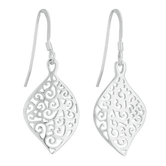 Sterling Silver Filigree Leaf Design Drop Earrings - Product number 3958612