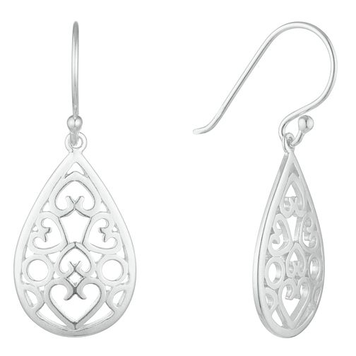Sterling Silver Filigree Heart Pear Drop Earrings - Product number 3958647