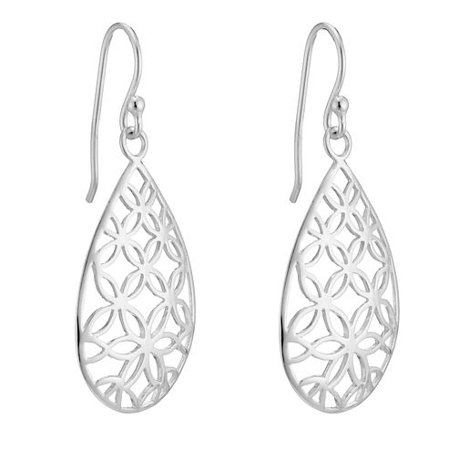 Sterling Silver Flower Design Cut-Out Pear Drop Earrings - Product number 3958663