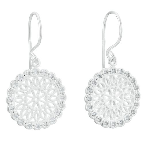 Sterling Silver Cubic Zirconia Round Filigree Drop Earrings - Product number 3958671
