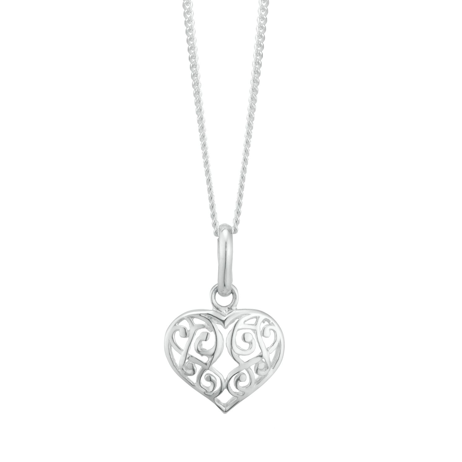 Sterling Silver Filigree Heart Pendant - Product number 3958795