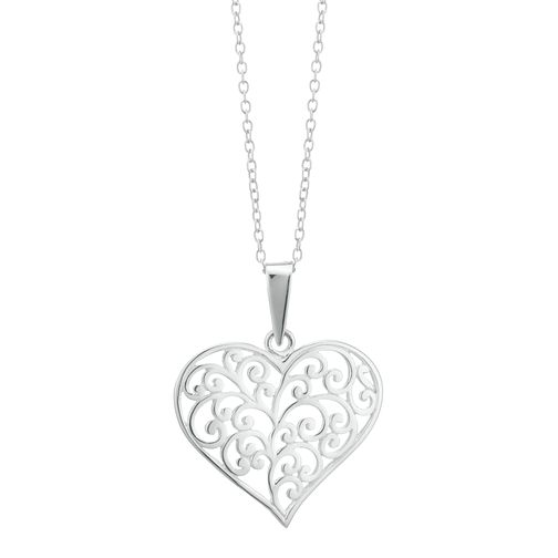 Sterling Silver Large Filigree Heart Pendant - Product number 3958825