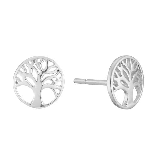 Sterling Silver Tree of Life Design Round Stud Earrings - Product number 3959120