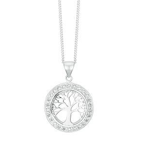 Sterling Silver Cubic Zirconia Tree of Life Design Pendant - Product number 3959287