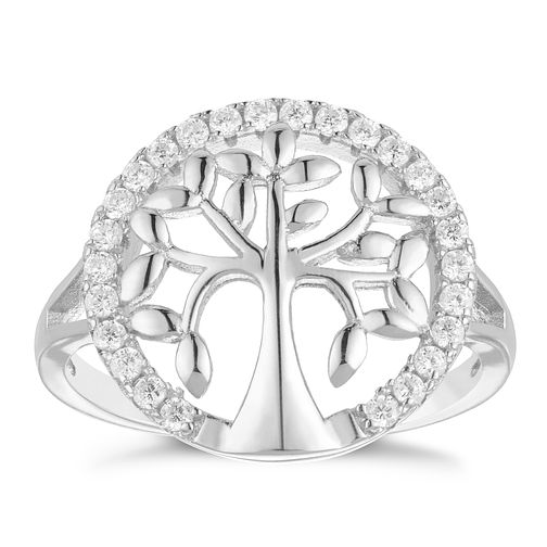 Silver Cubic Zirconia Tree Of Life Design Ring Size L - Product number 3959376