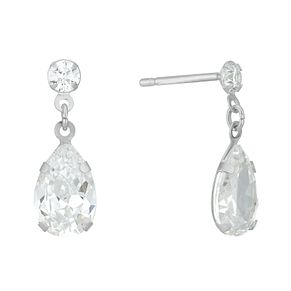 Sterling Silver Cubic Zirconia Double Teardrop Earrings - Product number 3959430