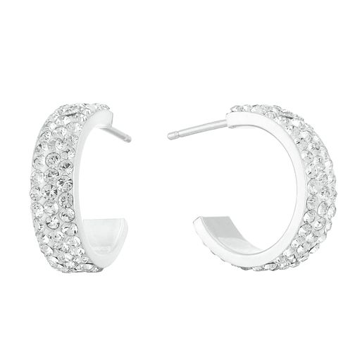 Sterling Silver Crystal Half Hoop Earrings - Product number 3959449