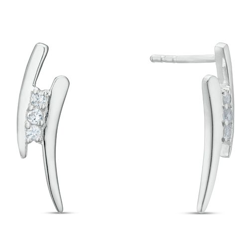Sterling Silver Cubic Zirconia Double Bar Stud Earrings - Product number 3959538