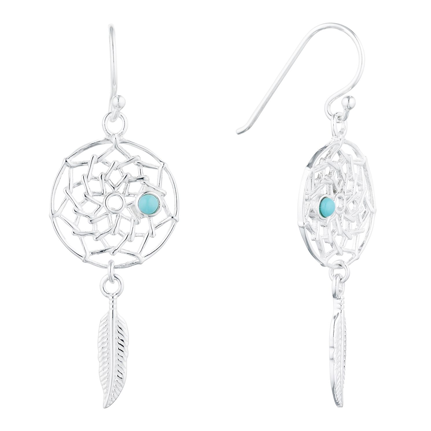 Silver Large Dreamcatcher Drop Earrings - Product number 3959546