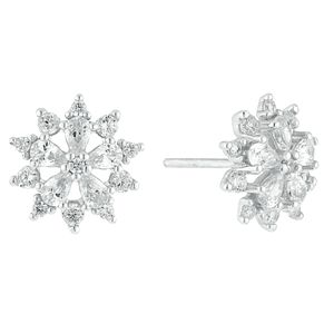 Sterling Silver Cubic Zirconia Flower Stud Earrings - Product number 3959589