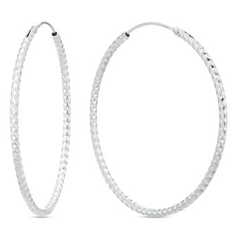 Sterling Silver Diamond Cut 45mm Hoop Earrings - Product number 3959635