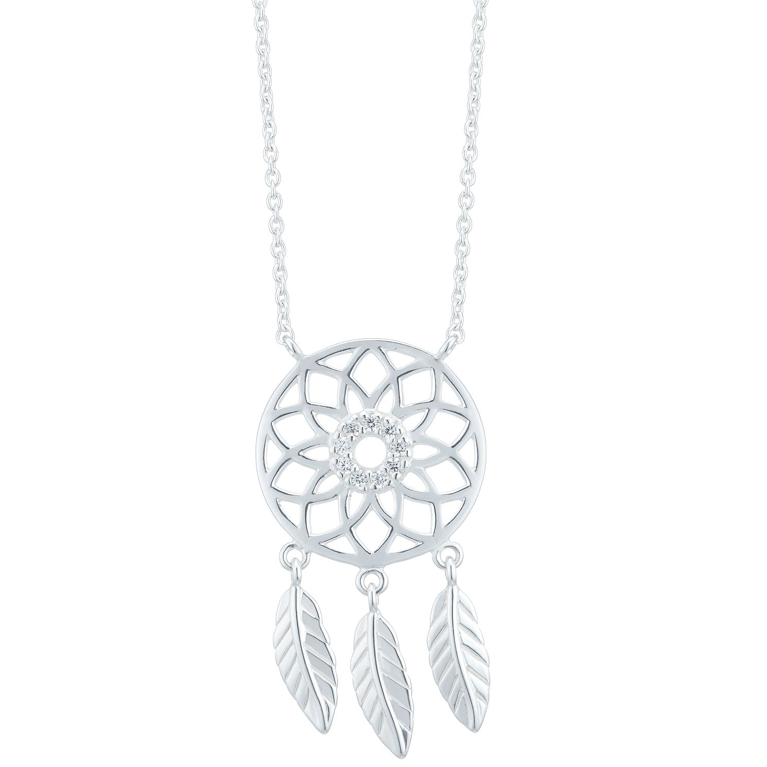 Sterling Silver Cubic Zirconia Dreamcatcher Necklace - Product number 3959686