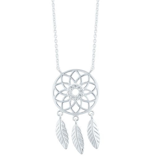 Sterling Silver Cubic Zirconia Dreamcatcher Pendant - Product number 3959686