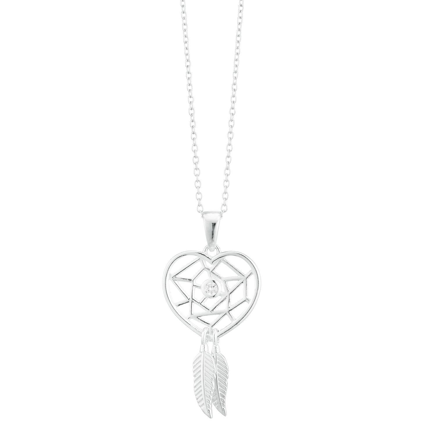 Sterling Silver Cubic Zirconia Dreamcatcher Pendant - Product number 3959716